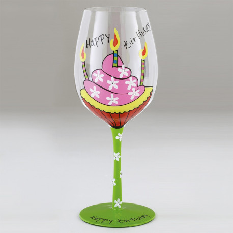 Grand Verre à Pied Fantaisie Happy Birthday