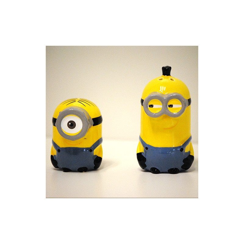 sali re et poivri re les minions en c ramique par kas. Black Bedroom Furniture Sets. Home Design Ideas
