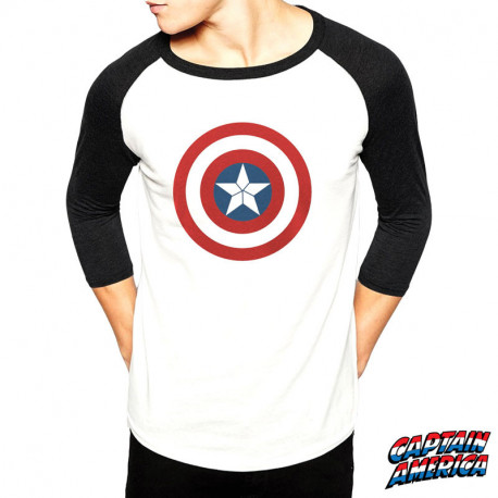 T-Shirt Captain America Marvel Manches 3/4