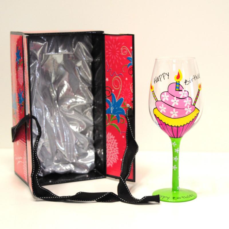 Verre pied fantaisie happy birthday distribu par kas design fournisseur d 39 articles insolites for Grand verre a pied pour decoration