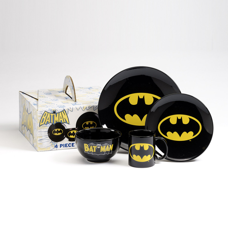 vaisselle batman logo set de 4 pi ces par kas design. Black Bedroom Furniture Sets. Home Design Ideas