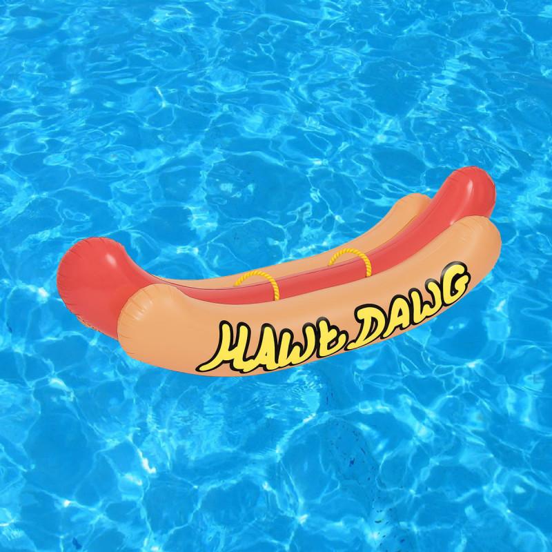 matelas gonflable hot dog distribu par kas design revendeur d 39 accessoires de piscine dr les et. Black Bedroom Furniture Sets. Home Design Ideas