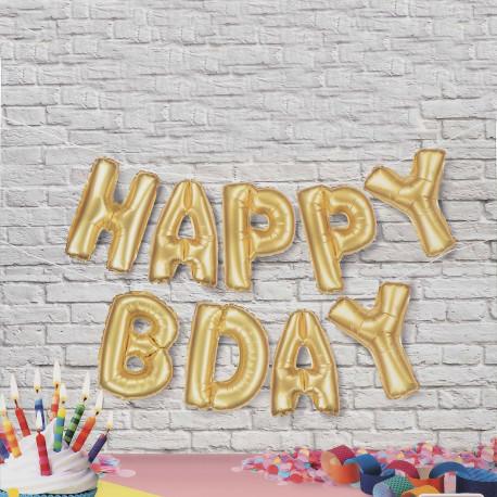 Bannière Ballons Dorés Happy Birthday