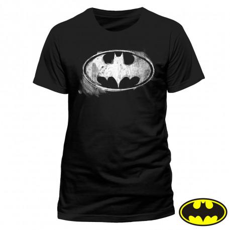 T-Shirt Batman Noir Logo Craie