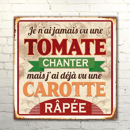 Plaque Métallique Tomate et Carotte