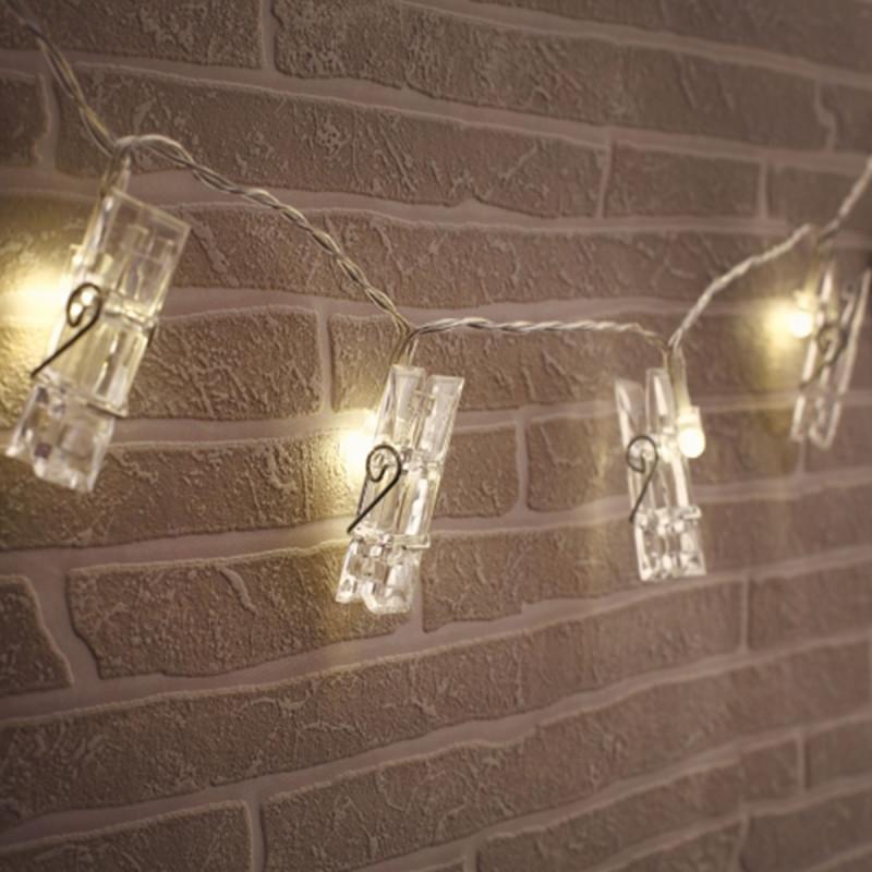 Guirlande pinces porte photos lumineuses chez kas design - Guirlande porte photo avec pinces linge ...
