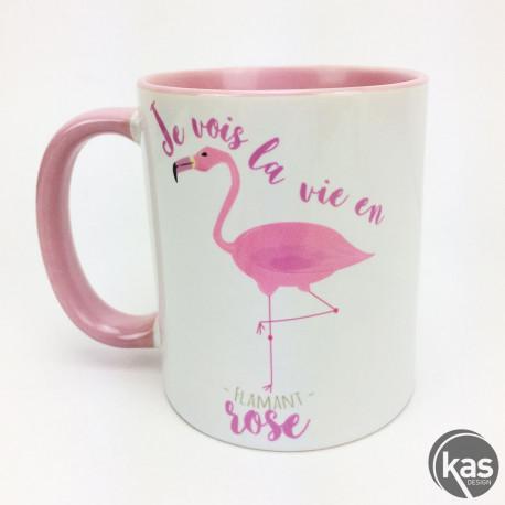 mug je vois la vie en flamant rose chez kas design. Black Bedroom Furniture Sets. Home Design Ideas