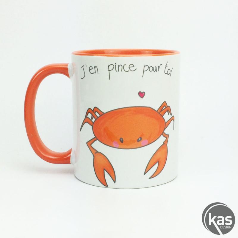 mug crabe j 39 en pince pour toi chez kas design. Black Bedroom Furniture Sets. Home Design Ideas