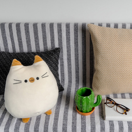 Coussin Moelleux Chat Blanc