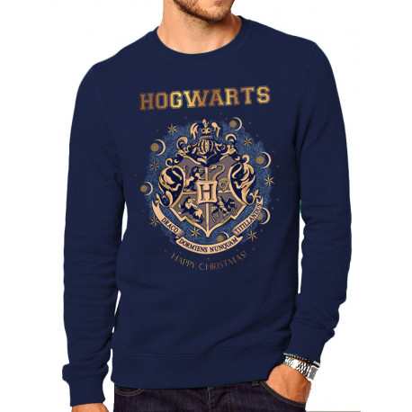 Sweatshirt Harry Potter Poudlard Happy Christmas Bleu