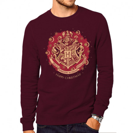 Sweatshirt Harry Potter Poudlard Happy Christmas Grenat