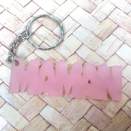 Porte-Clés Maman Rose en Acrylique