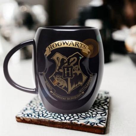 Mug Harry Potter Noir Blason Poudlard Doré