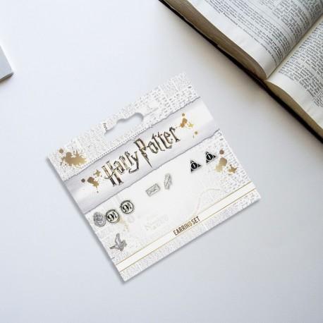Boucles d'Oreilles Harry Potter - Lot de 3 - Quai 9 3/4, Reliques de la Mort et Hedwige