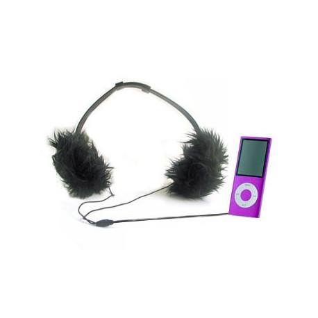 Casque Audio Girly Fourrure Noire