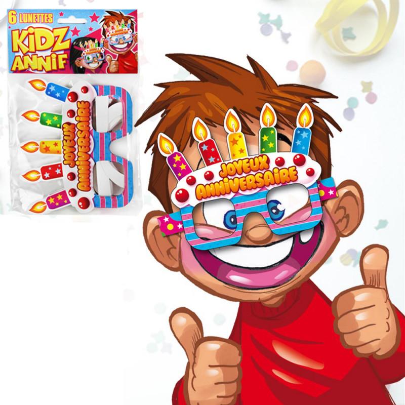 lot de 6 lunettes joyeux anniversaire enfants sur kas design distributeur de produits anniversaire. Black Bedroom Furniture Sets. Home Design Ideas