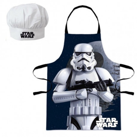 Set petit chef star wars stormtrooper tablier et toque for Tablier de cuisine star wars