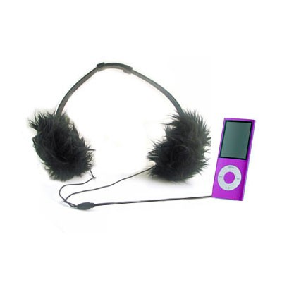 Girly Black Fur Headphones