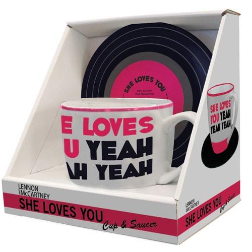 Tasse und<br> Untertasse Beatles<br> Texte Lennon &amp; ...