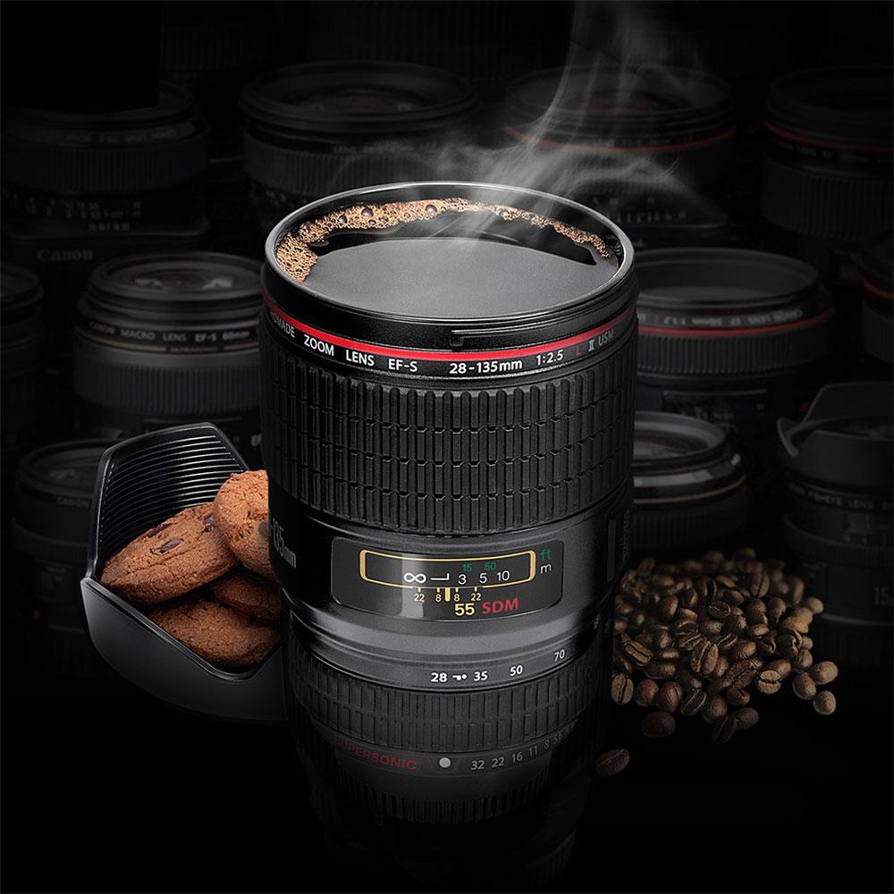 -Kamera-Objektiv<br>Tasse Schwarz