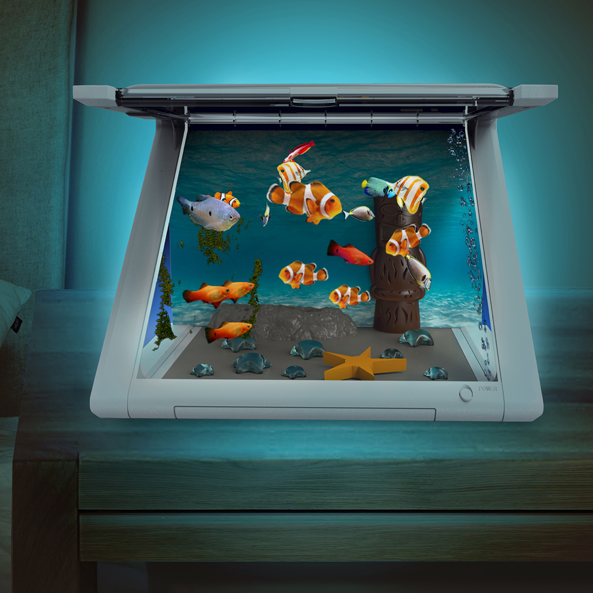 Virtual Aquarium<br> for iPad and<br>Charging Station